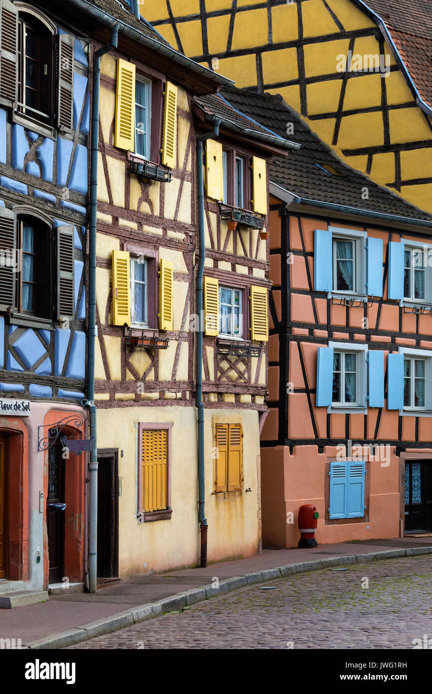 Historic buildings in the historic Little Venice area of the old town of Colmar in the Alsace region of northeast - Stock Image