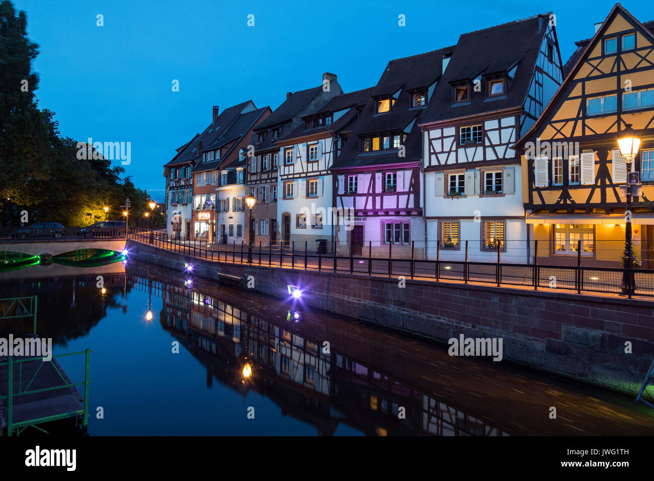Historic buildings in the Little Venice area of the old town of Colmar in the Alsace region of northeast France. - Stock Image