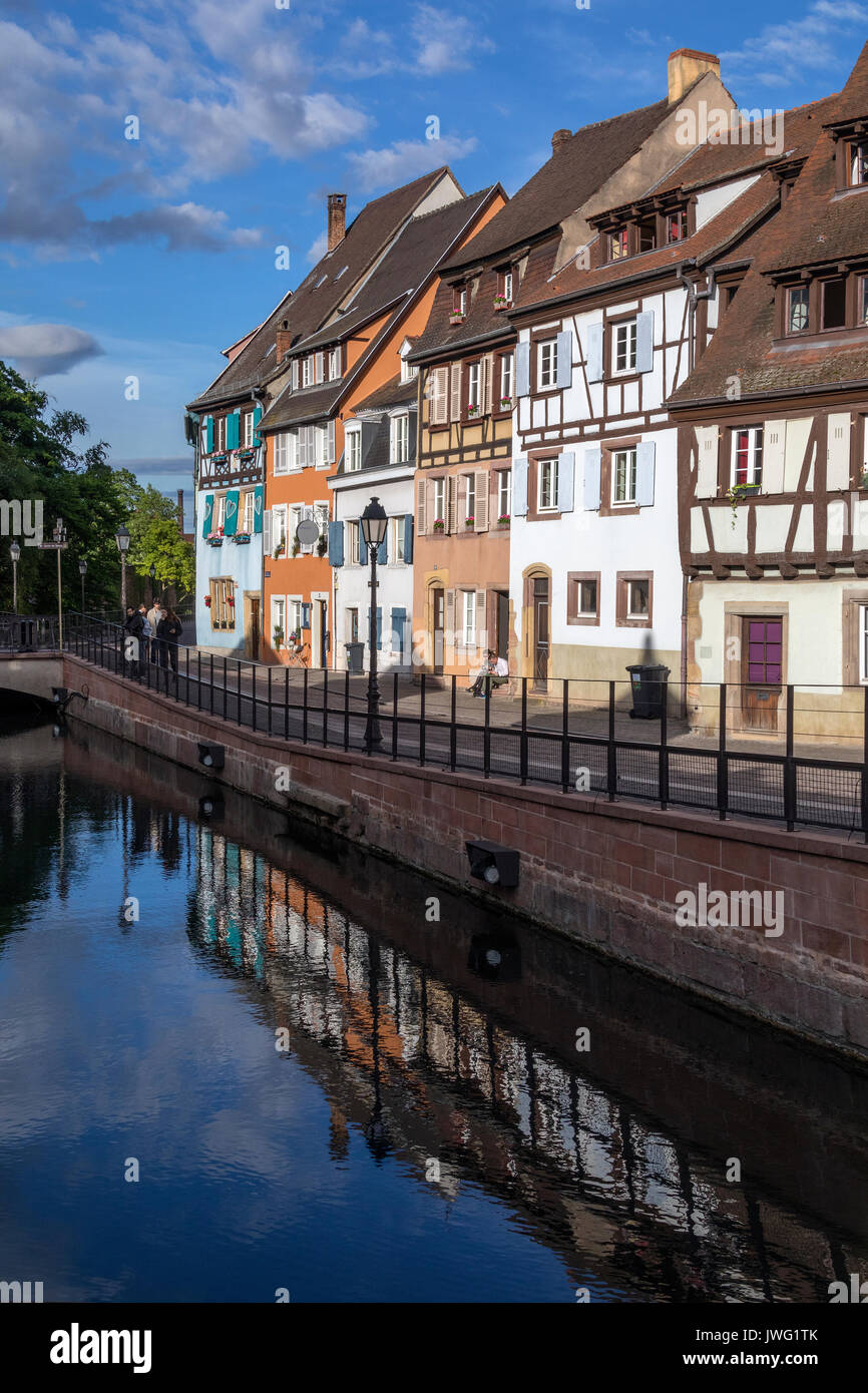 Historic buildings in the Little Venice area in the old town of Colmar in the Alsace region of northeast France. - Stock Image