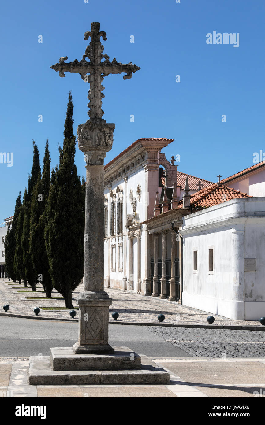 The Cathedral Cross and Pacos do Concelho (town hall) in the city of Aveiro, Portugal. - Stock Image