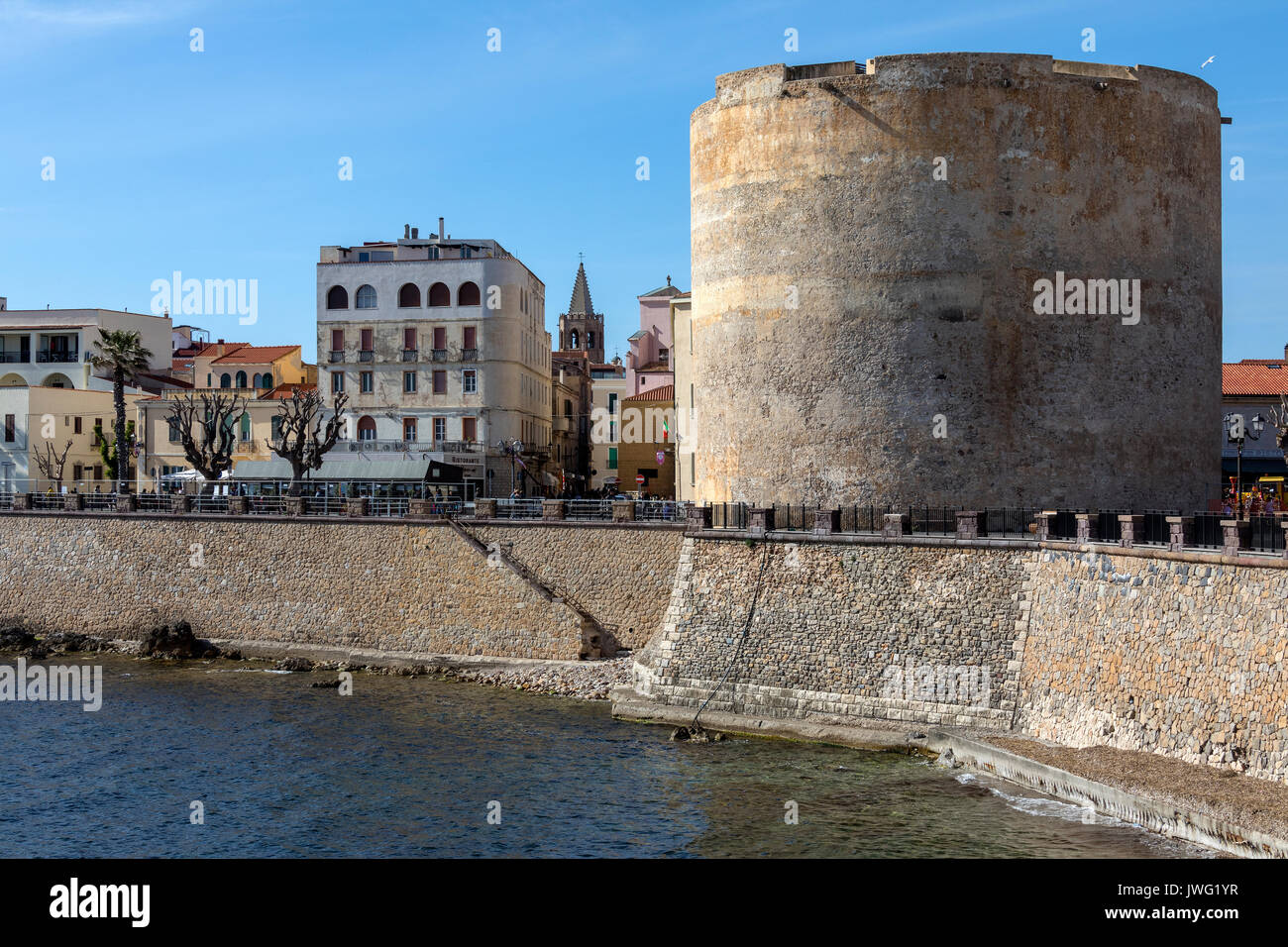 Porta a Terra Tower in the town of Alghero in the province of Sassari on the northwest coast of the island of Sardinia, - Stock Image