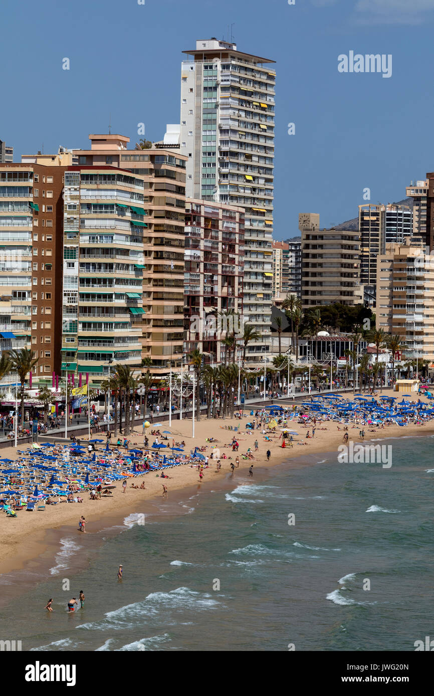Benidorm - Spain.  A city on the Mediterranean coast in the province of Alicante on the Costa Blanca in eastern - Stock Image
