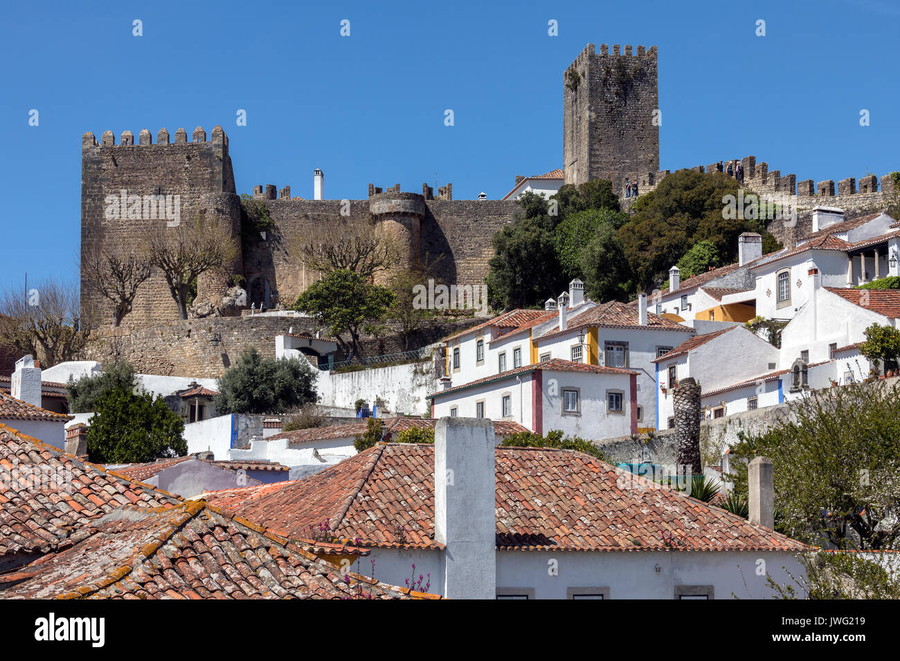 The medieval castle in the walled town of Obidos in the Oeste region of Portugal. - Stock Image