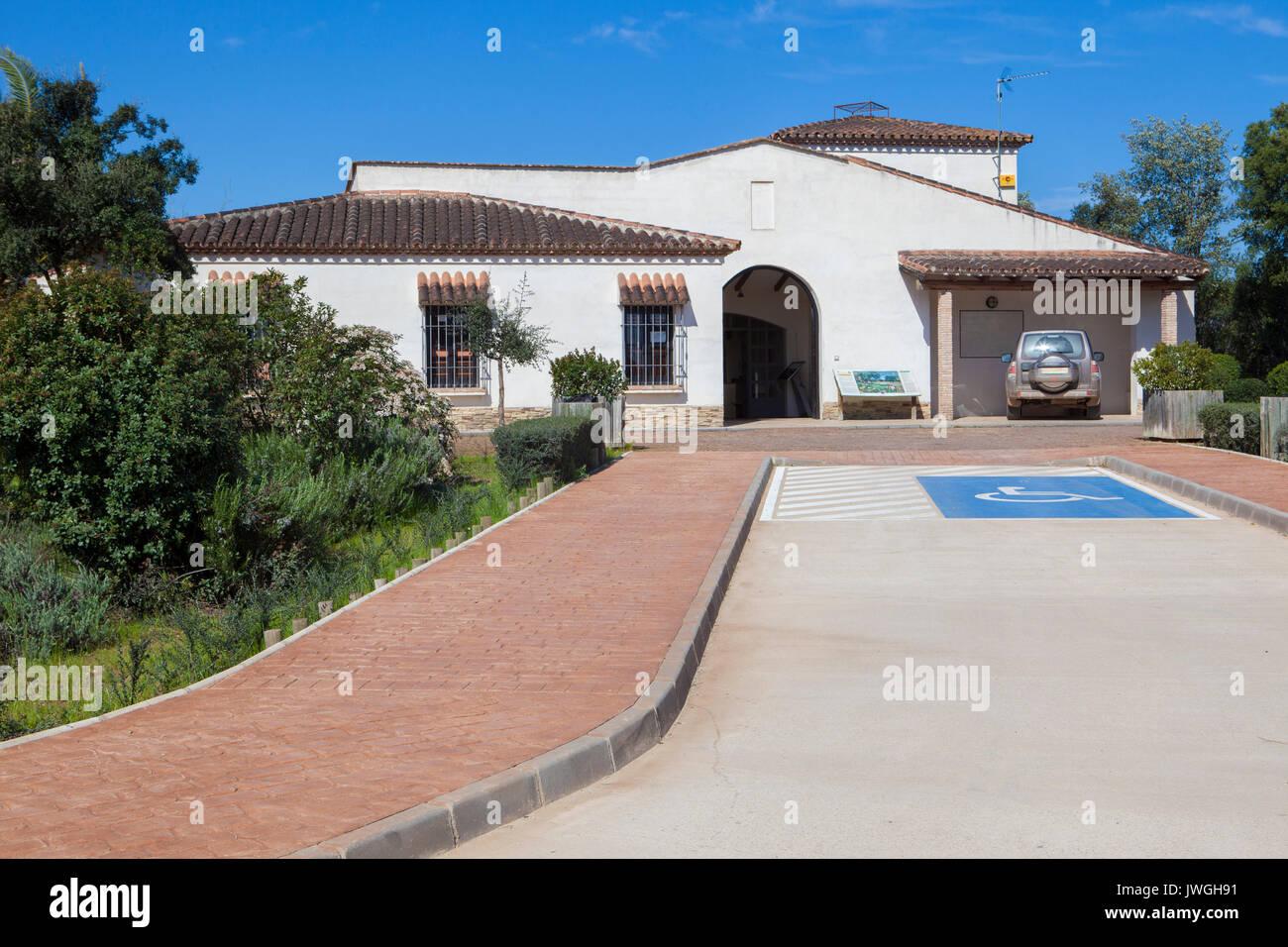 Trujillanos, Spain. March 15, 2017: Centre of visitors of  Cornalvo Natural Park, Trujillanos, Extremadura, Spain - Stock Image