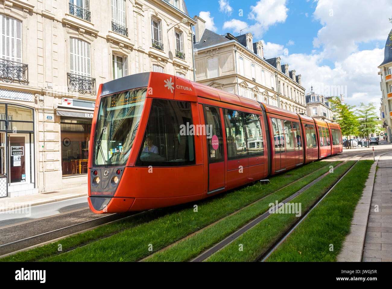 Reims, France, Public Tramway on Tracks on Street - Stock Image