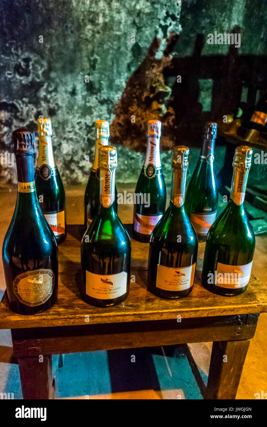 Reims, France, Collection of French Wines on Display in Mumm Champagne Cave - Stock Image