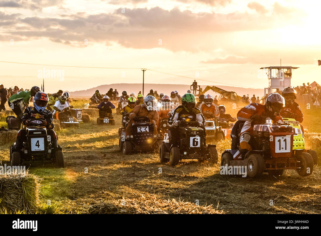 Billingshurst, West Sussex, UK. 12th August 2017. British Lawn Mower Racing Assoc 12 hour Race ( BLMRA ). The mowes - Stock Image