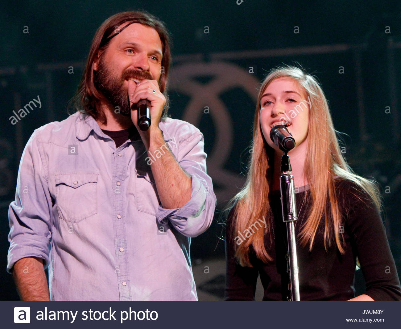 Mac Powell and Scout Powell. Christian rock band Third Day made a stop on their Miracle Tour at the Fox Theater - Stock Image