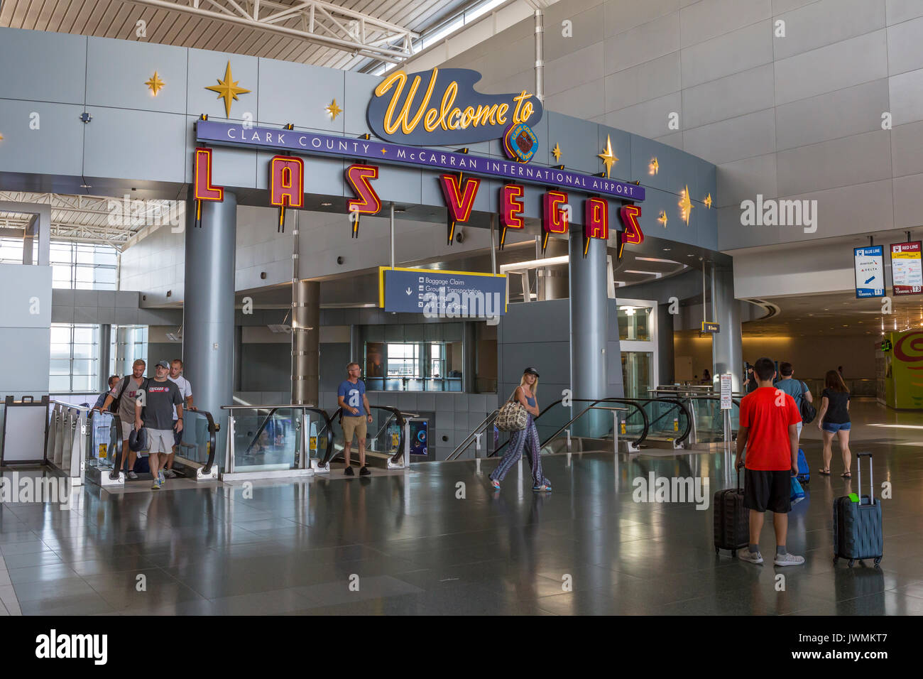 A sign in McCarran International Airport welcomes travelers to Las Vegas.  The airport is located in Paradise in - Stock Image