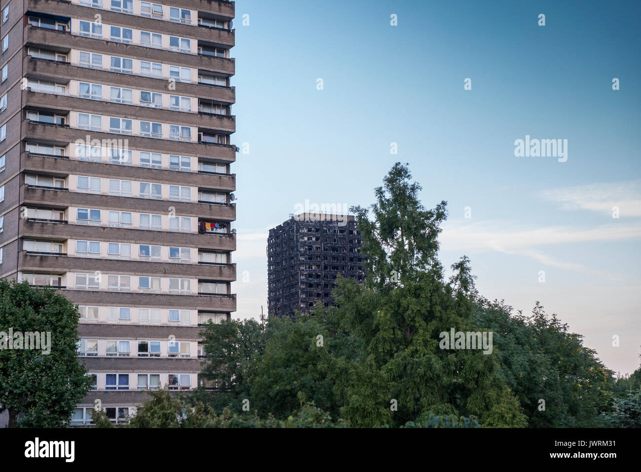 The charred remains of Grenfell Tower - Stock Image