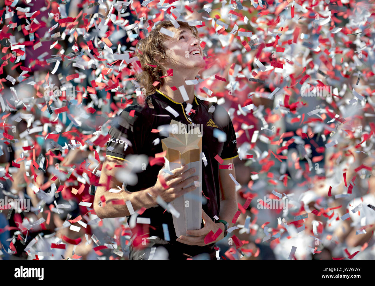 Montreal, Canada. 13th Aug, 2017. Alexander Zverev of Germany reacts during the awarding ceremony after the final - Stock Image
