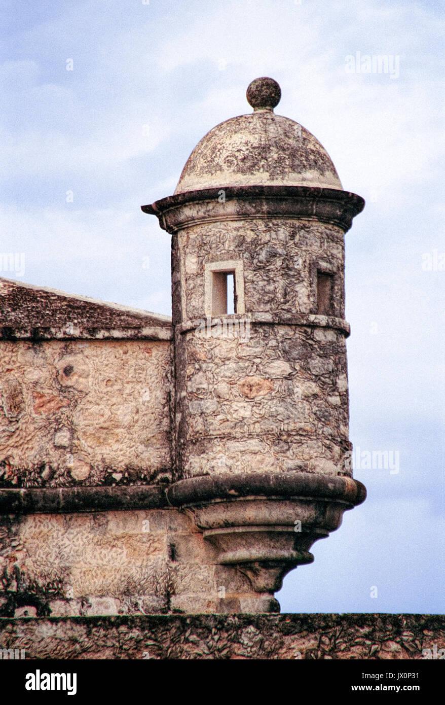 Fuerte de San Miguel or Fort St Michael in Campeche, Mexico. Turret or guard post. Vintage 1996 - kodak film. - Stock Image