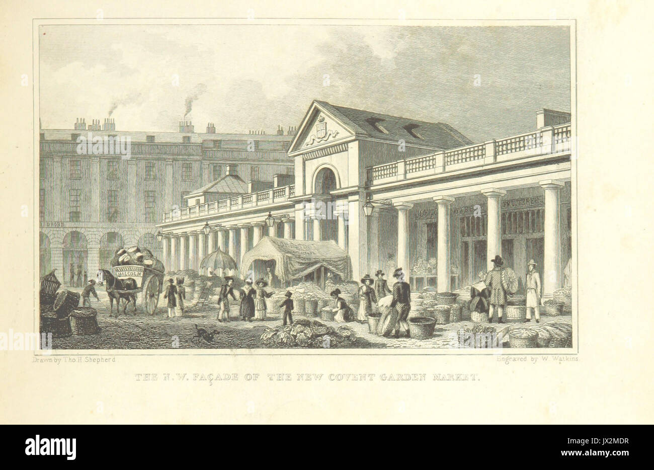 The NW Facade of the new Covent Garden Market   Shepherd, Metropolitan Improvements (1828), p203 - Stock Image