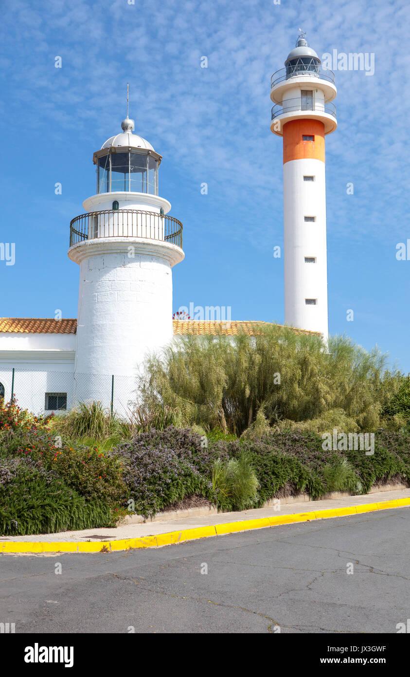 Two lighthouses in El Rompido, Cartaya, Costa de la Luz, Huelva region, Andalucia, Spain, Europe - Stock Image