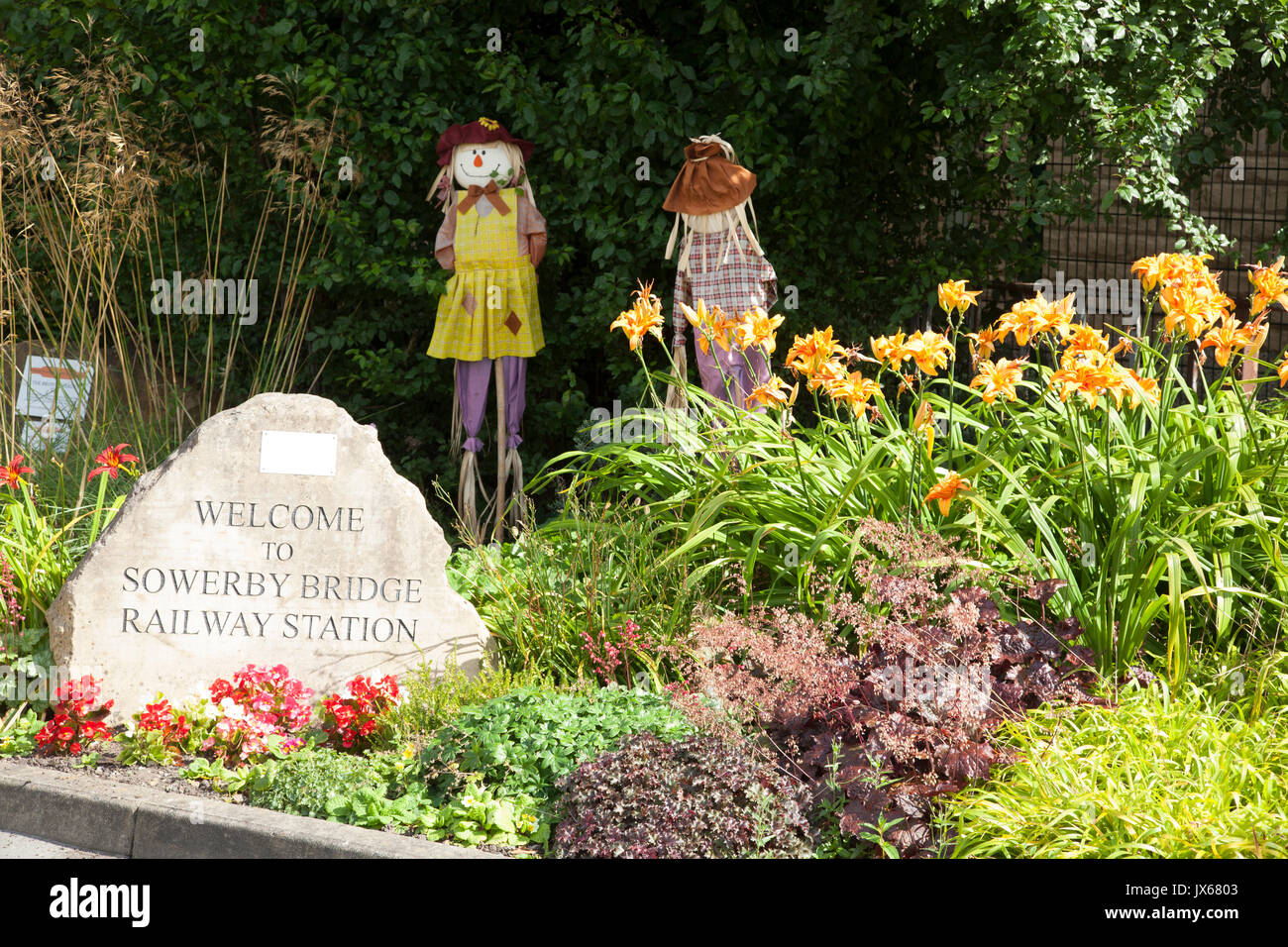 The Brontë Garden at the railway station, Sowerby Bridge, West Yorkshire - Stock Image