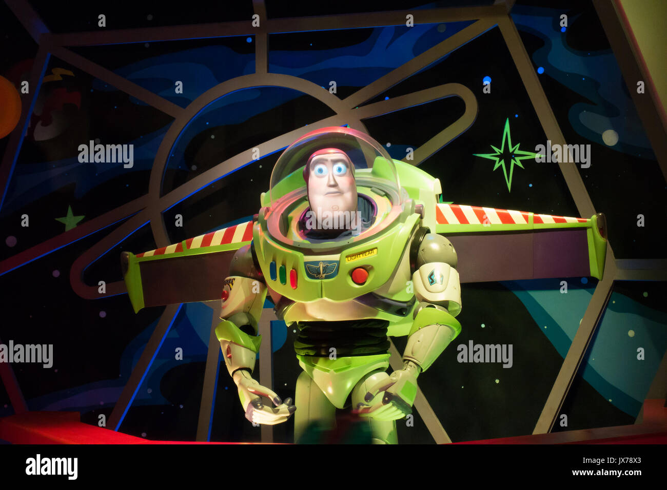 Buzz Lightyear anamatronic in the queue of Buzz Lightyears Space Ranger Spin Ride in Magic Kingdom - Stock Image
