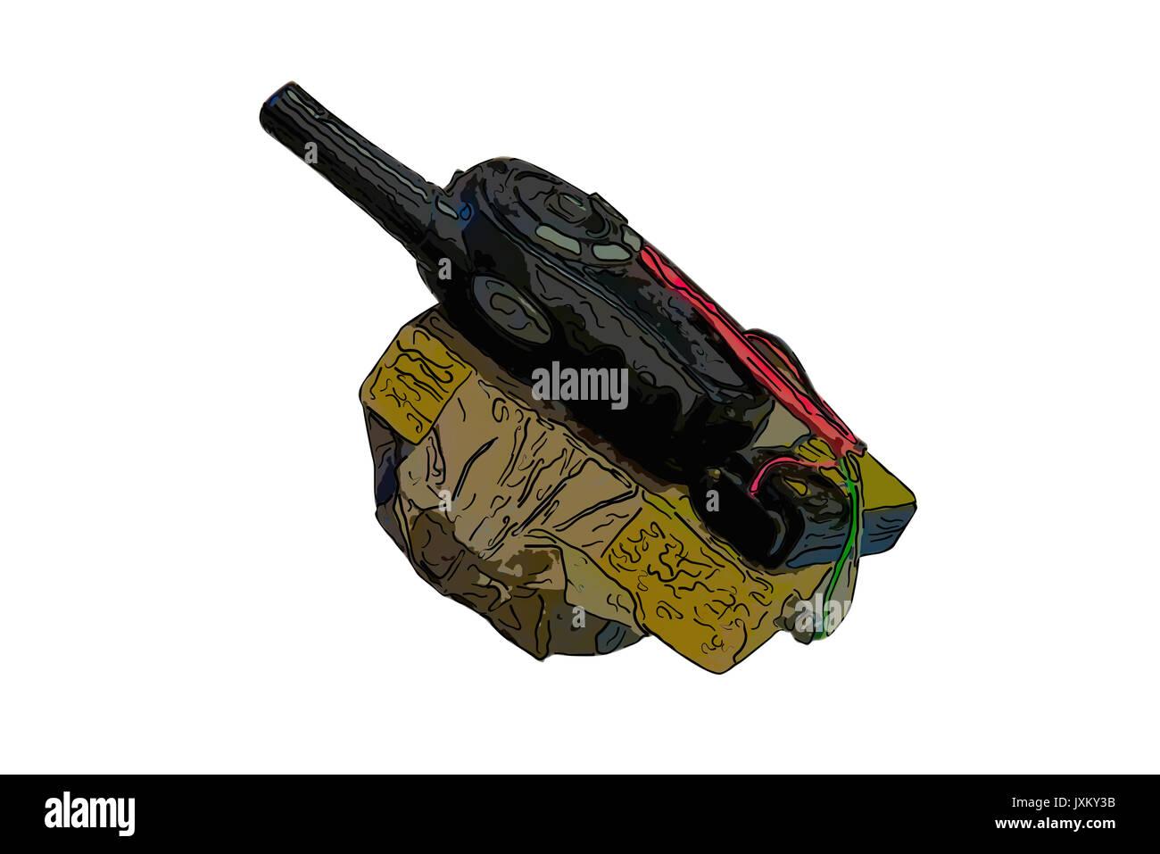 dangerous terrorist timed bomb on white background - Stock Image