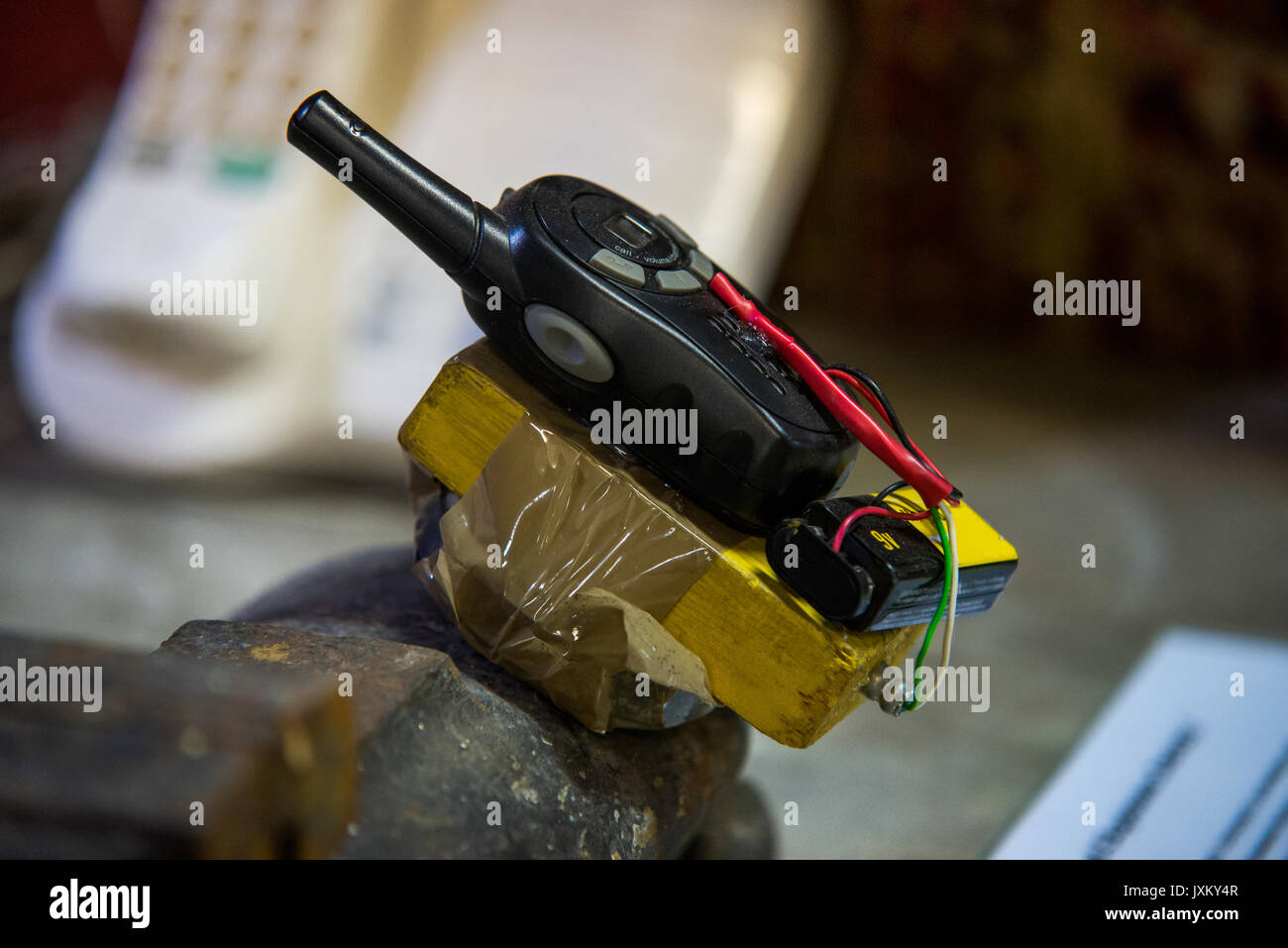 close up on dangerous terrorist timed bomb - Stock Image