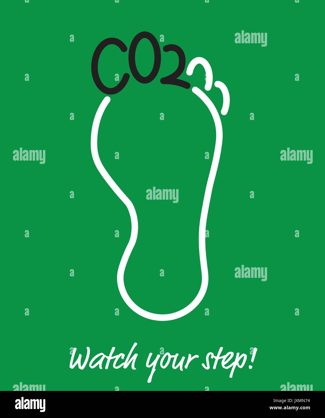 Carbon Footprint Poster, toes of foot shaped as letters CO2, short term for Carbon Dioxide - Stock Image