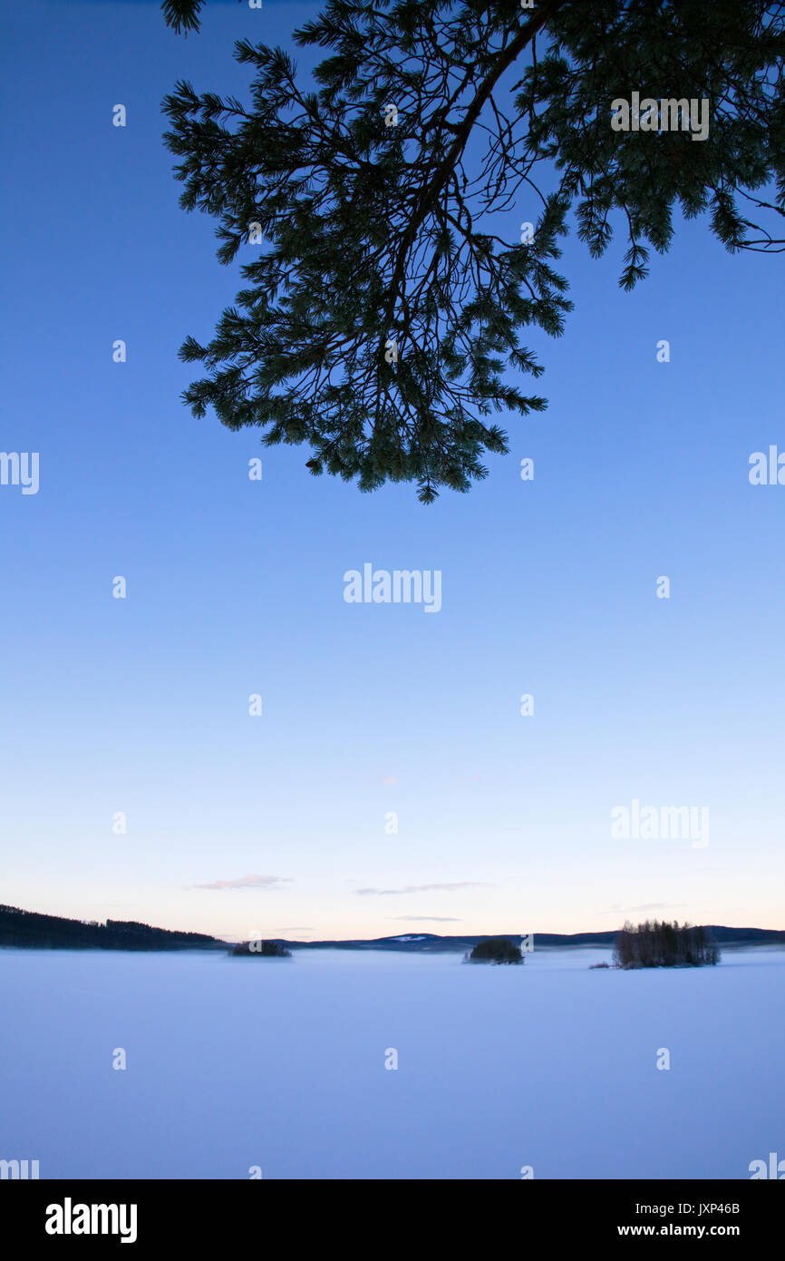 Frozen lake at dusk. - Stock Image