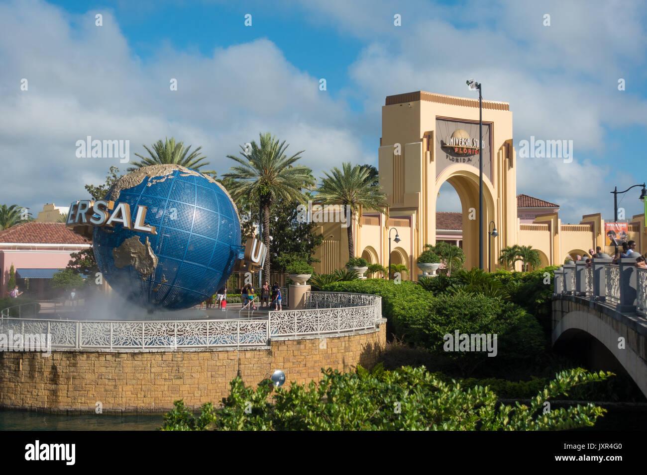 The Universal Globe at the Entrance to Universal Studios Orlando, Florida. - Stock Image