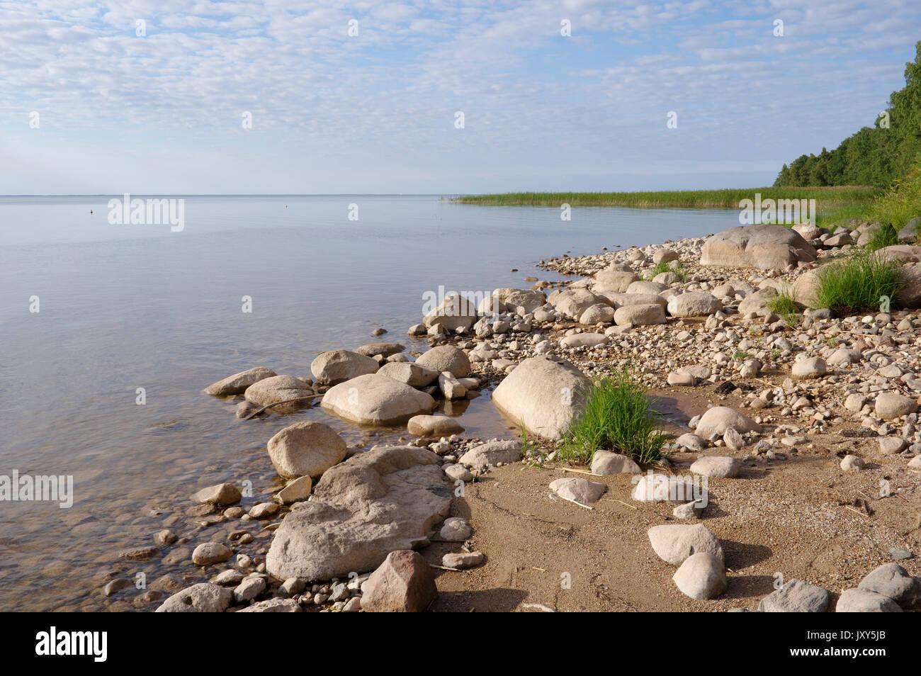 View to the Lake Võrtsjärv, Estonia 16.08.2017 Stock Photo
