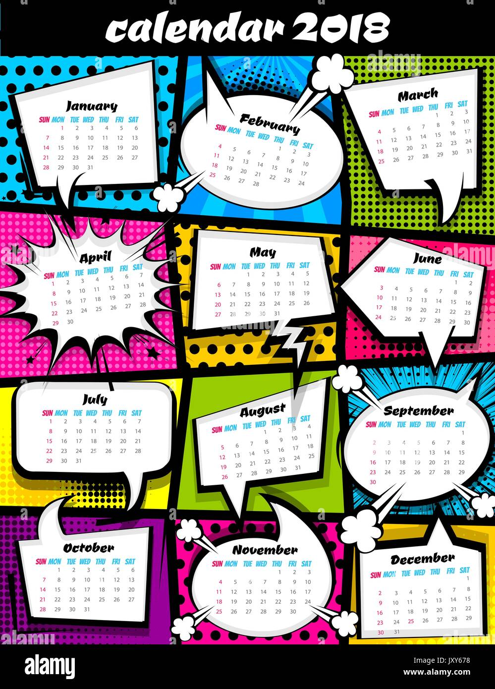 Pop Art Calendar : Calendar pop art template stock vector