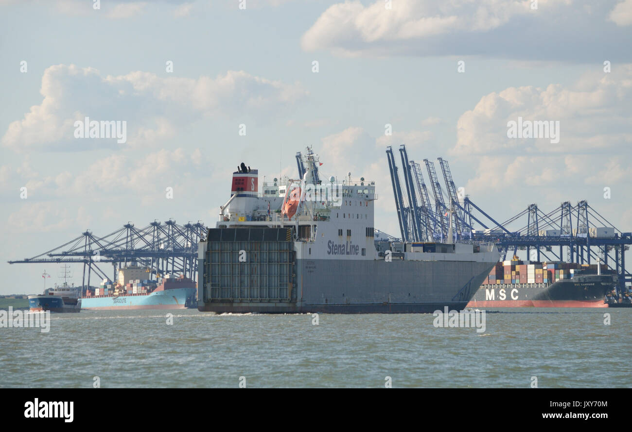 Stena Line Ro-Ro cargo ship Severine seen passing the Port of Felixstowe bound for Harwich - Stock Image