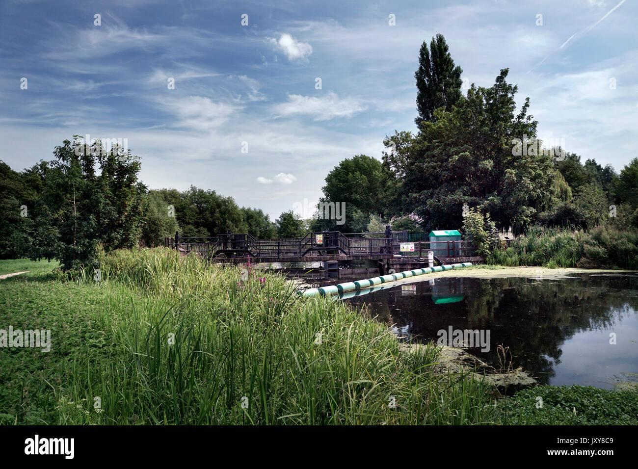 sluice gates  on river waveney at bungay suffolk united kingdom - Stock Image