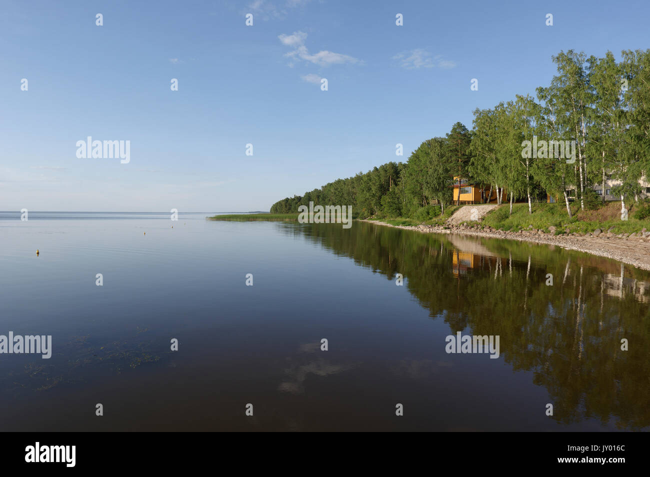Lake Museum and Limnological Station open to the lake. Lake Võrtsjärv, Estonia 16th august 2017 Stock Photo