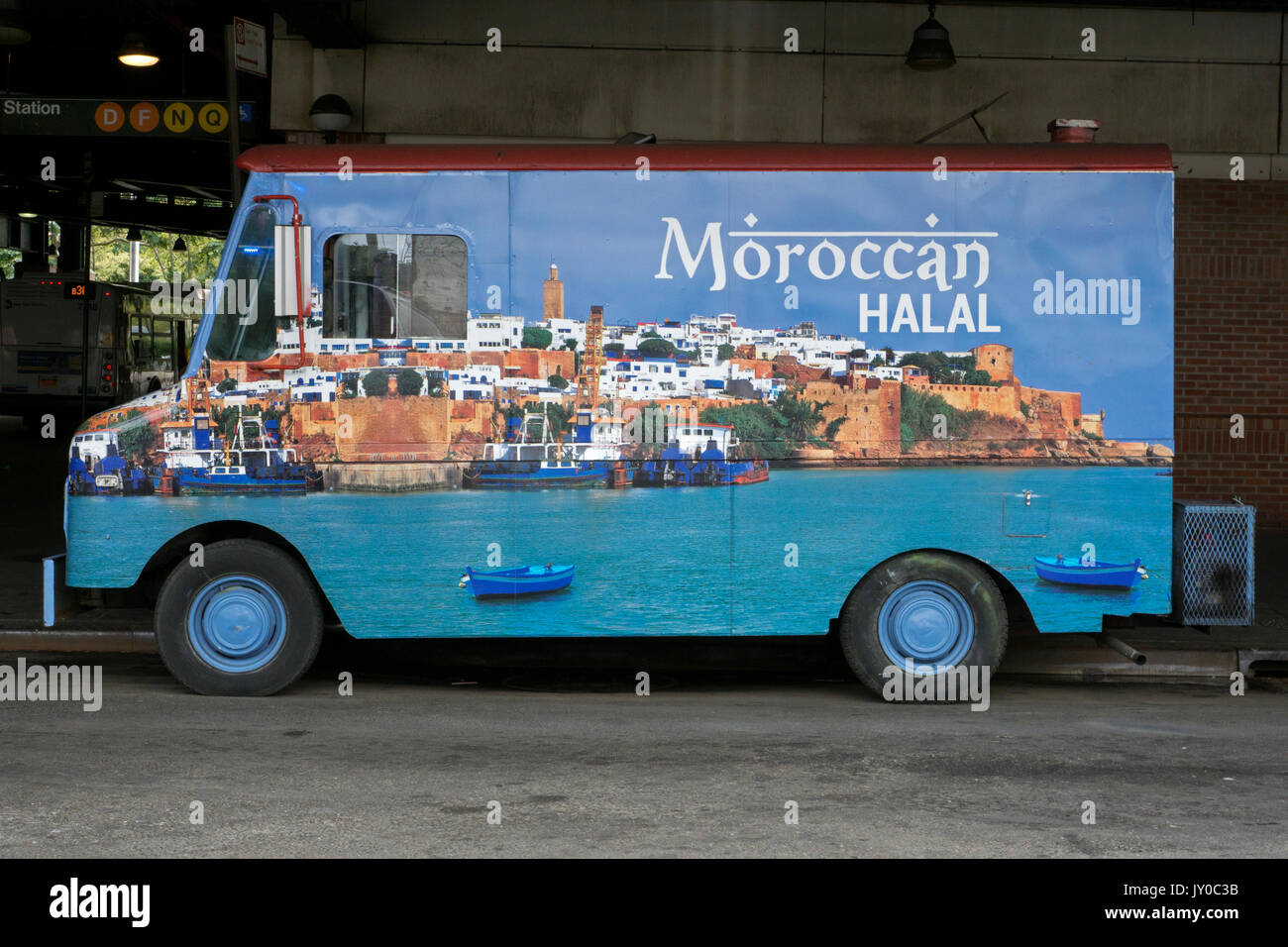 Moroccan Halal food truck parked near a subway station on Stillwell Avenue in Coney Island, Brooklyn, New York. - Stock Image