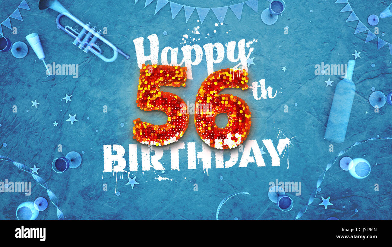 Happy 56th Birthday Card With Beautiful Details Such As Wine Bottle Champagne Glasses Garland Pennant Stars And Confetti Blue Background Red