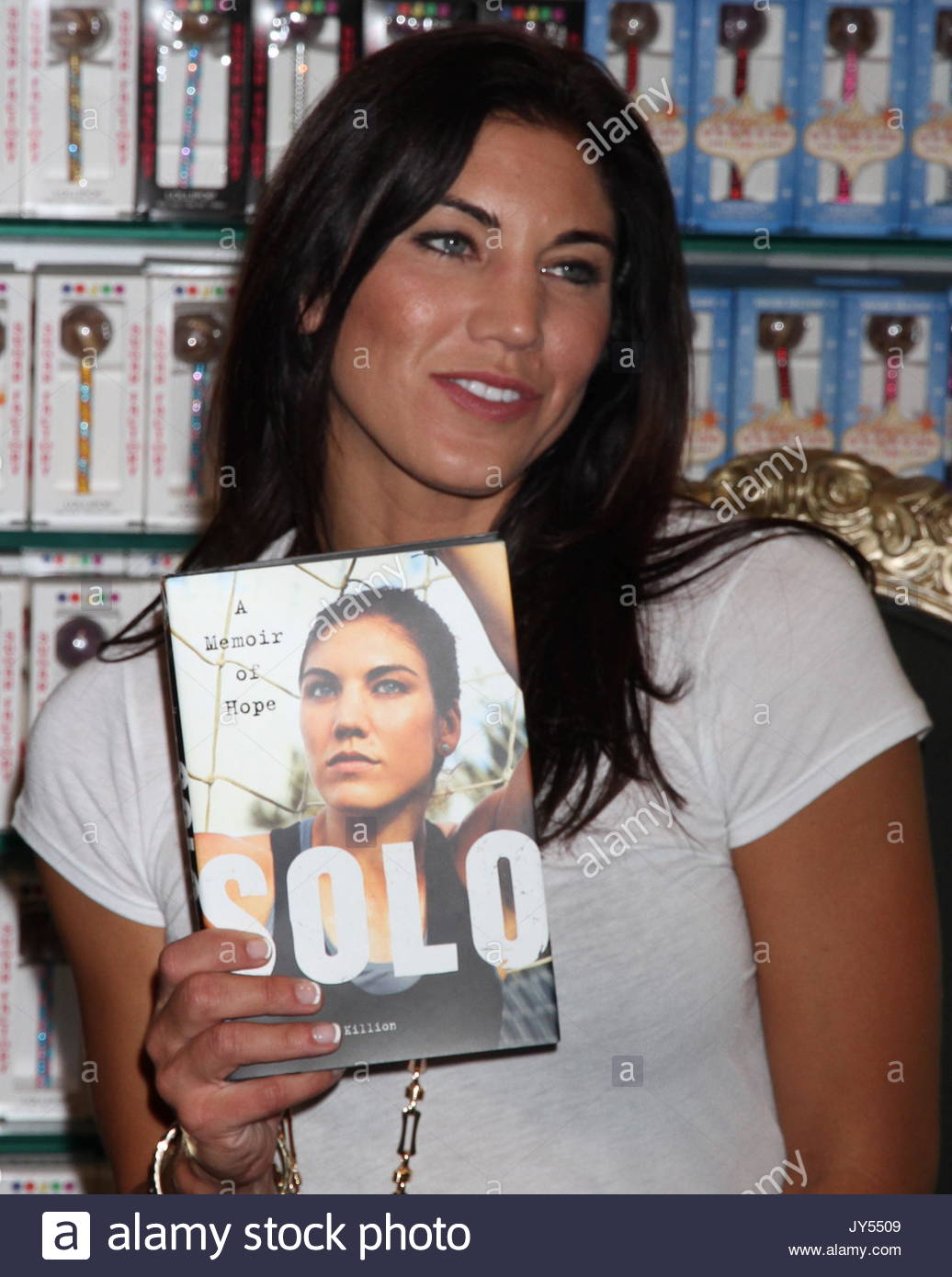 Hope Solo. Olympic athelete Hope Solo hosts a book signing for her recent autobiography, 'Solo: A Memoir Of - Stock Image