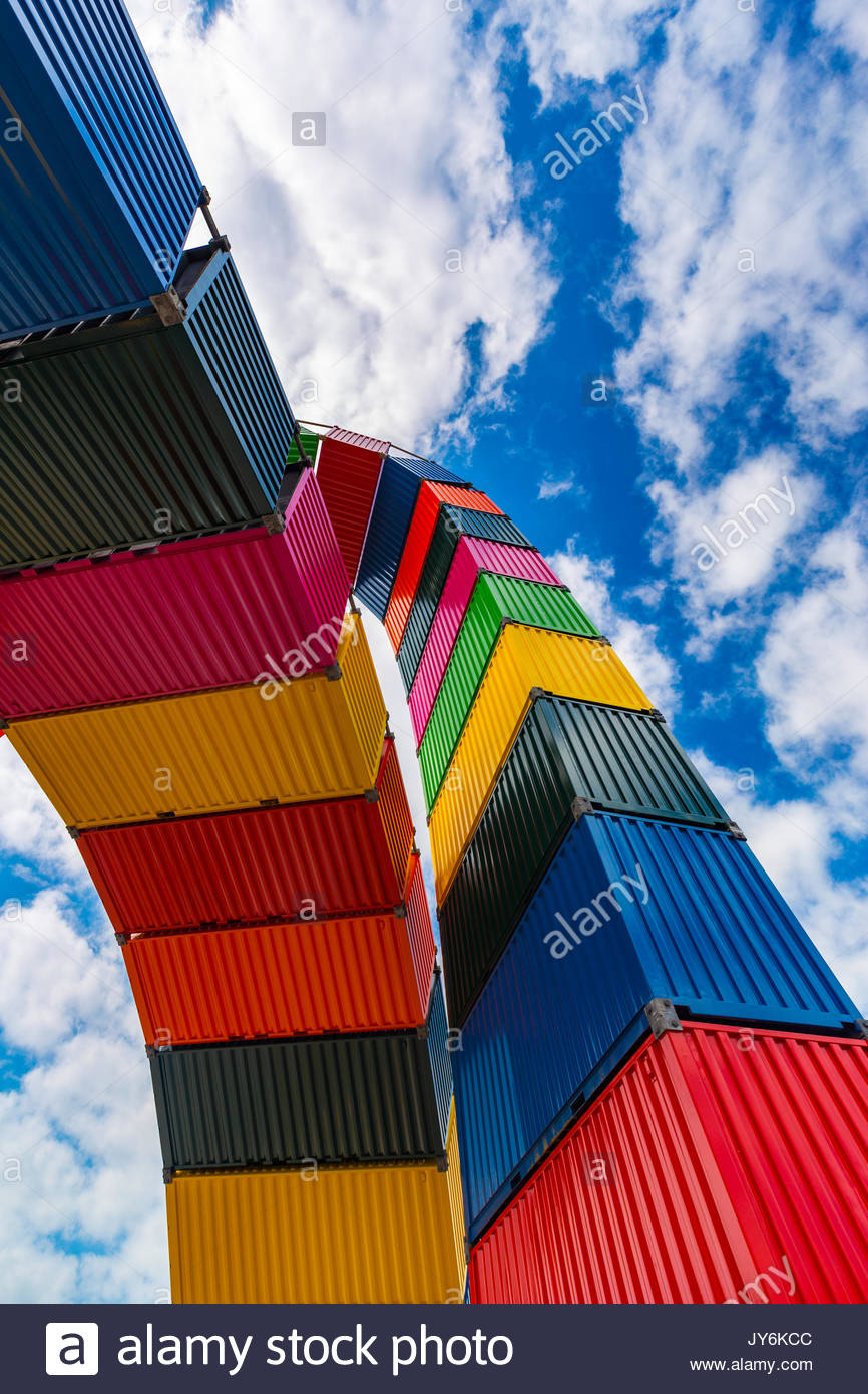 Contemporary installation Caténe de Containers by Vincent Ganivet in Southampton port of Le Havre, France, - Stock Image