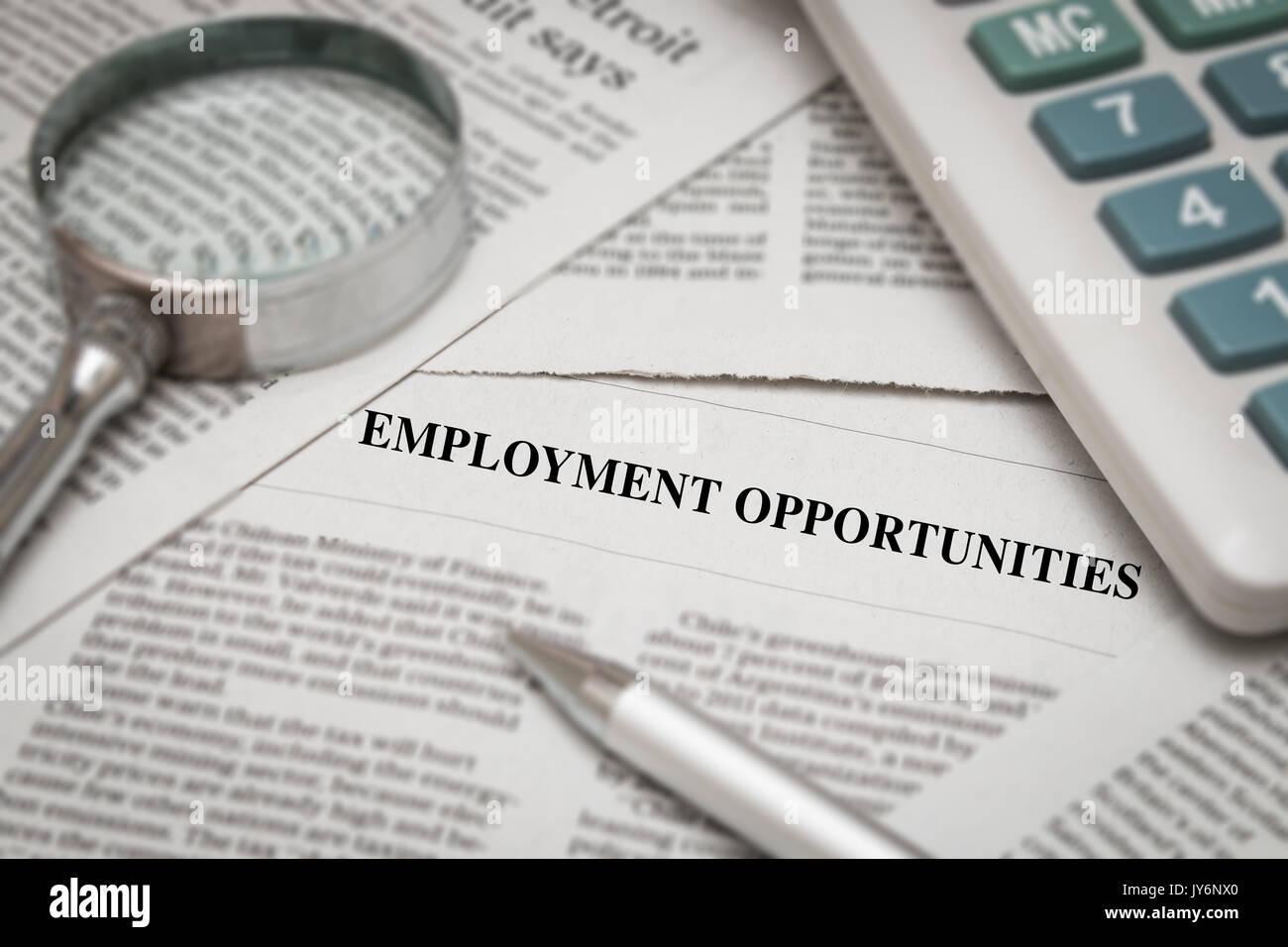 Employment Newspaper Opportunities Stock Photos