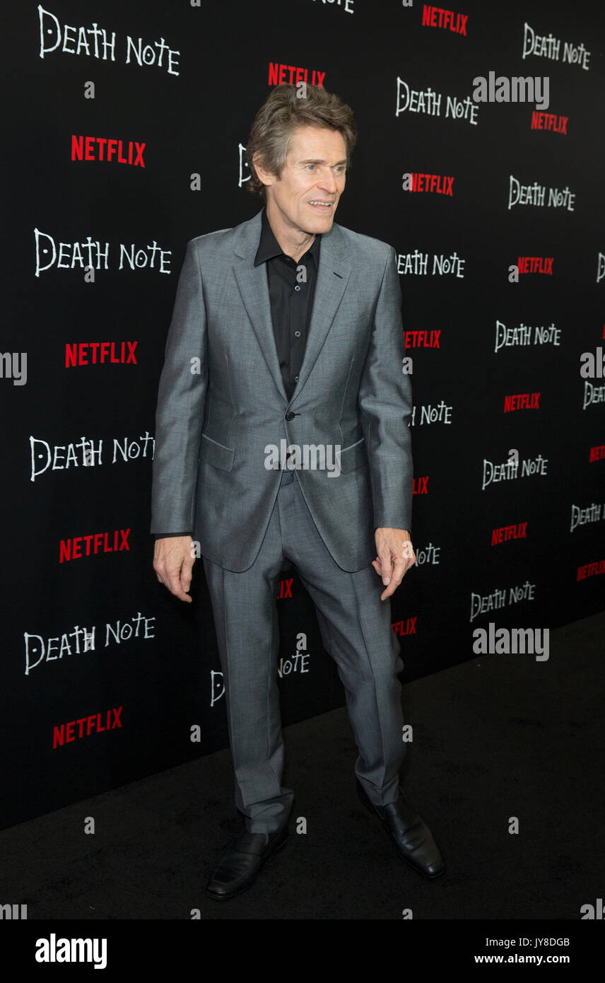 New York, United States. 17th Aug, 2017. Willem Dafoe attends Netflix premiere Death Note at AMC Loews Lincoln Square Stock Photo