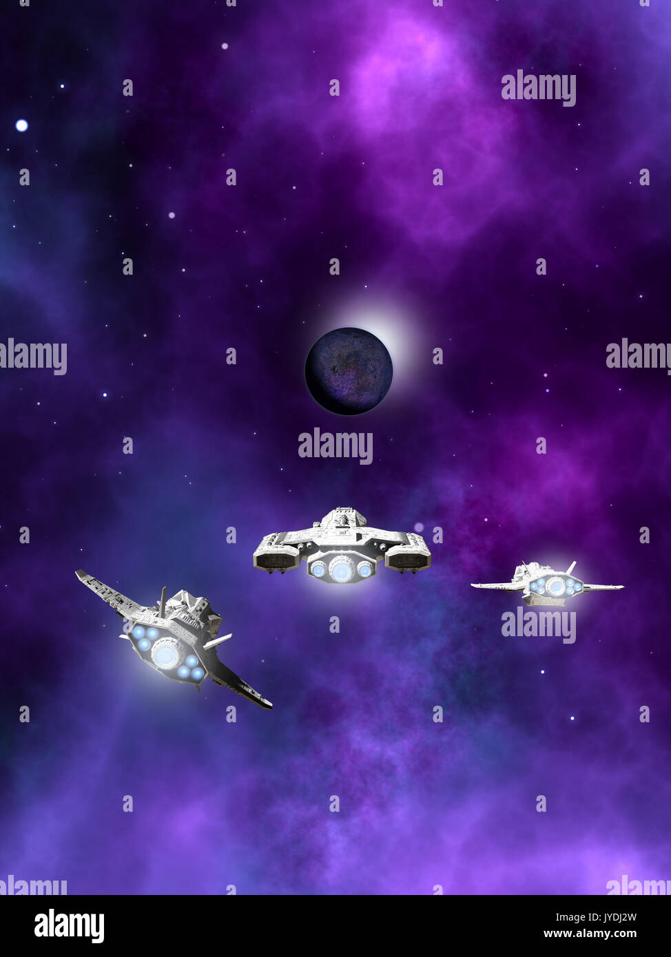Fleet of Spaceships Approaching a Planetary Nebula - Stock Image