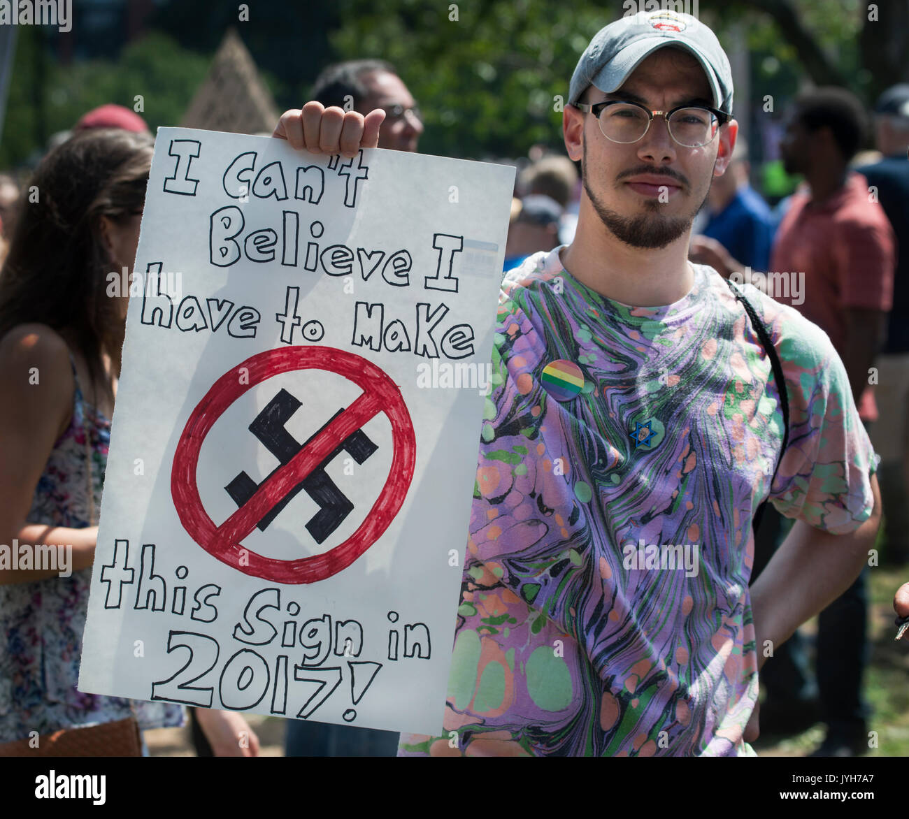 Boston, USA. 19th Aug, 2017. Boston police estimated that up to 40,000 demonstrators gathered at the center of the Stock Photo