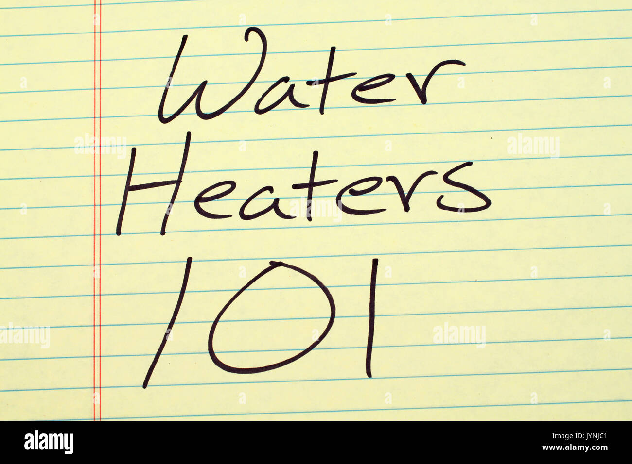 The words 'Water Heaters 101' on a yellow legal pad - Stock Image