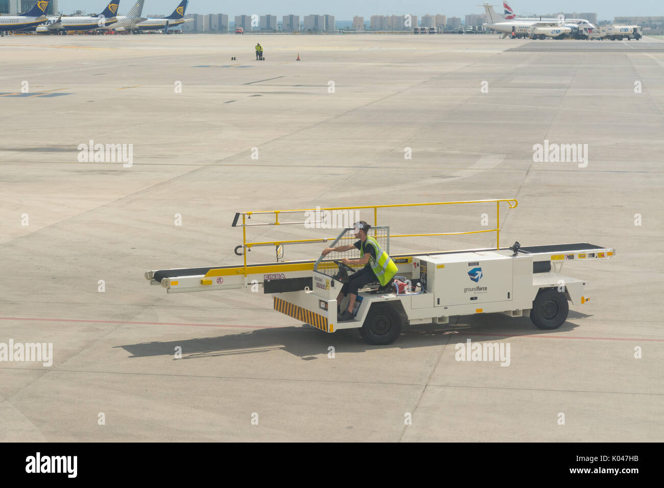 Groundforce handling services at Alicante Airport, Spain - Stock Image