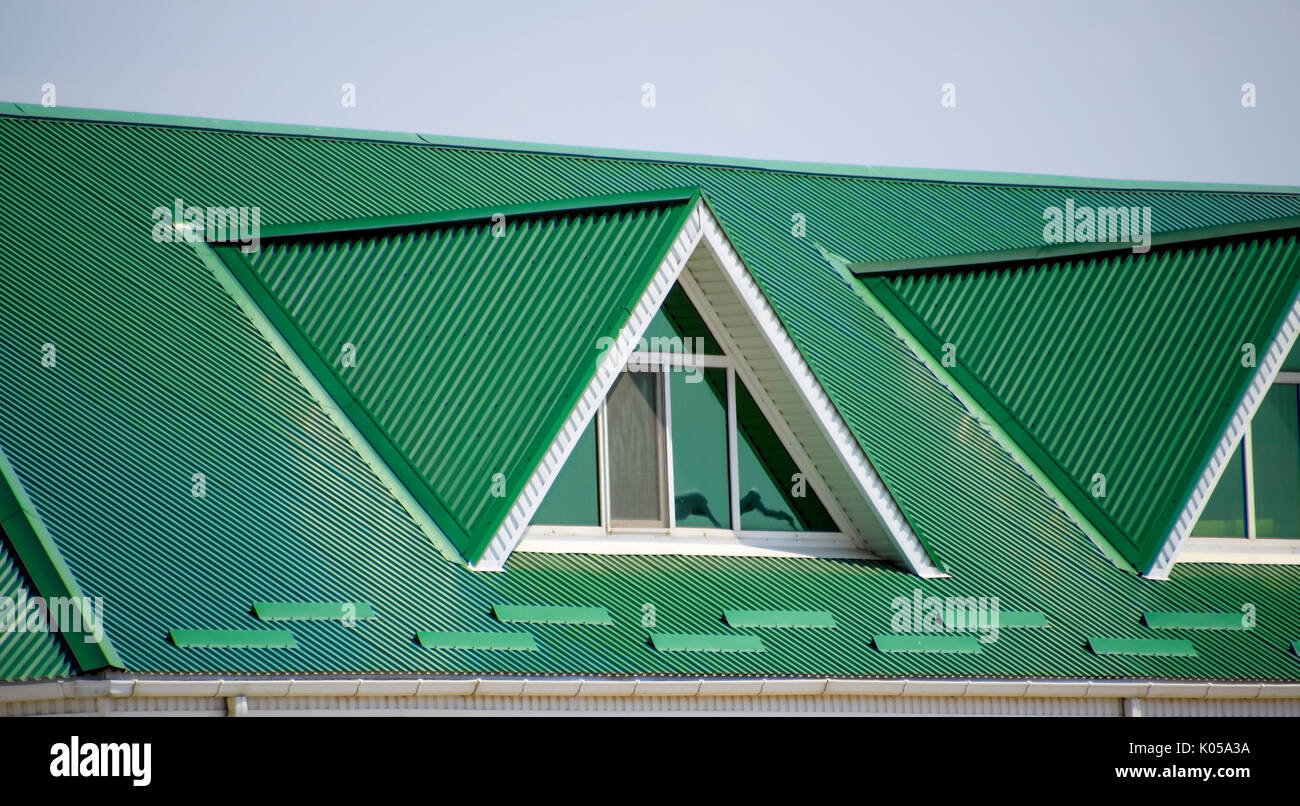 Corrugated Plastic Windows : Green corrugated roofs stock photos