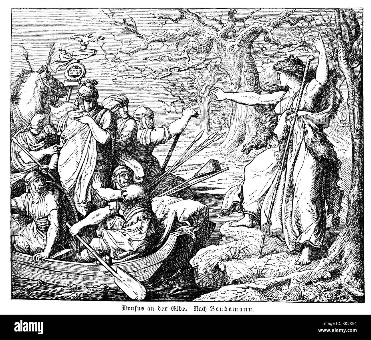 Drussus, having reached the  Elbe, is threatened by a  German priestess        Date: 9 BC - Stock Image