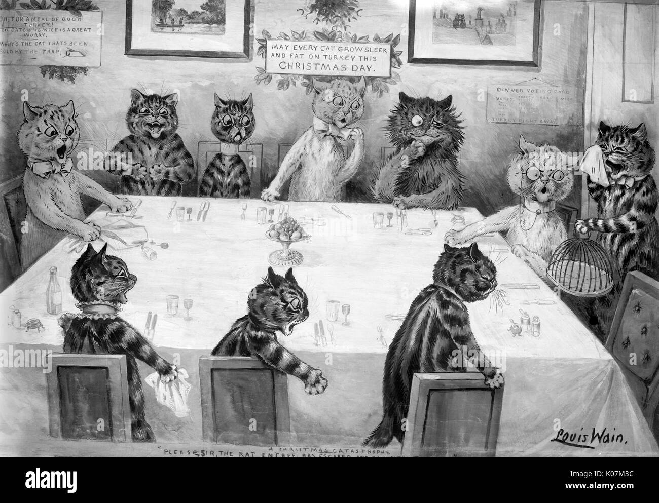 Louis Wain - A Christmas catastrophe : please, sir, the rat entree has escaped and eaten the turkey, cats eating - Stock Image
