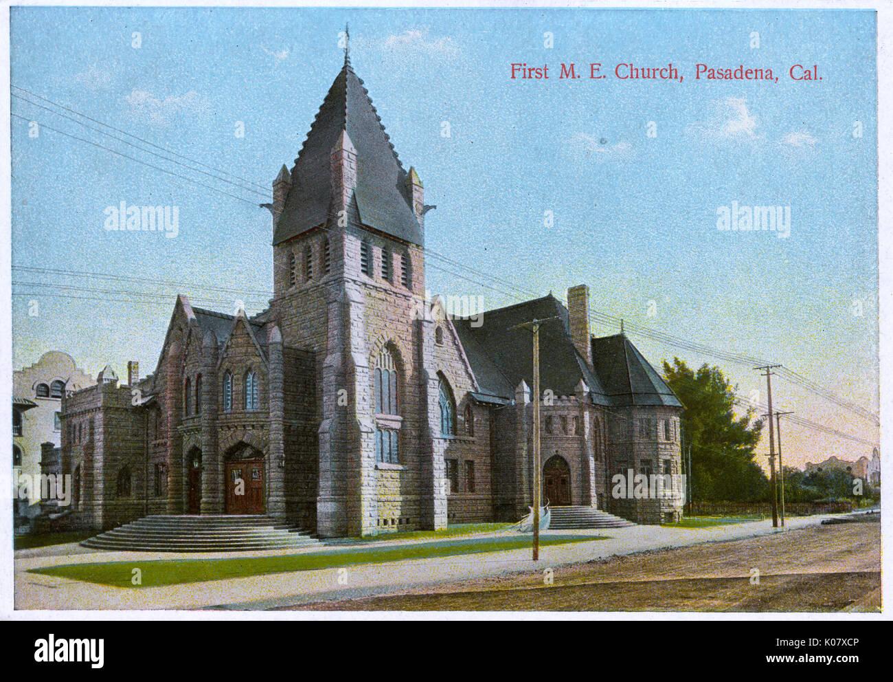 First Methodist Episcopal Church, on the corner of Colorado Street and Marengo Avenue, Pasadena, California, USA. Stock Photo