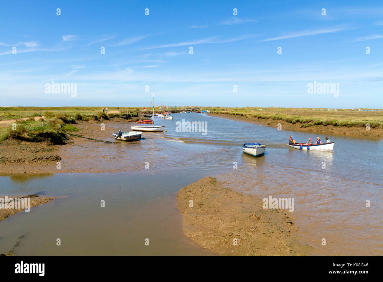 Morston Creek Norfolk with the tide out - Stock Image