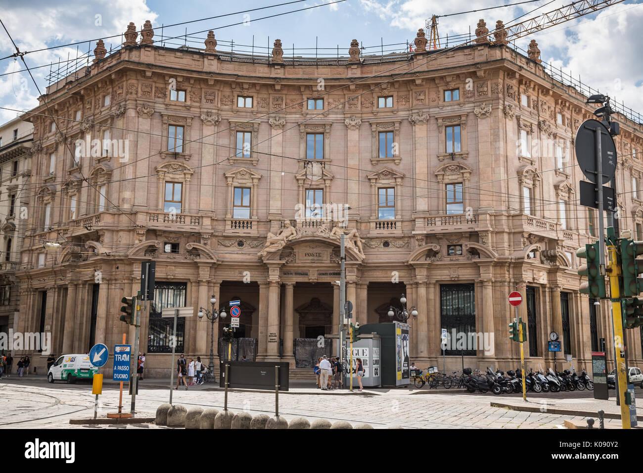 ex Palazzo delle Poste on Piazza Cordusio, Milan, Italy - Stock Image