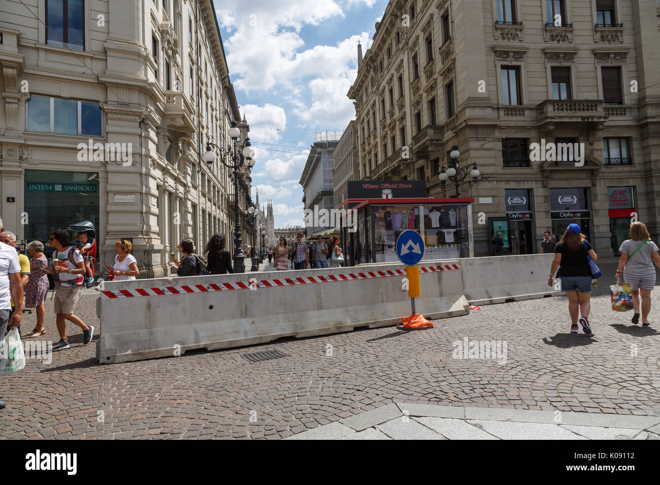 Jersey barriers in Piazza Cordusio, Milan, Italy - Stock Image