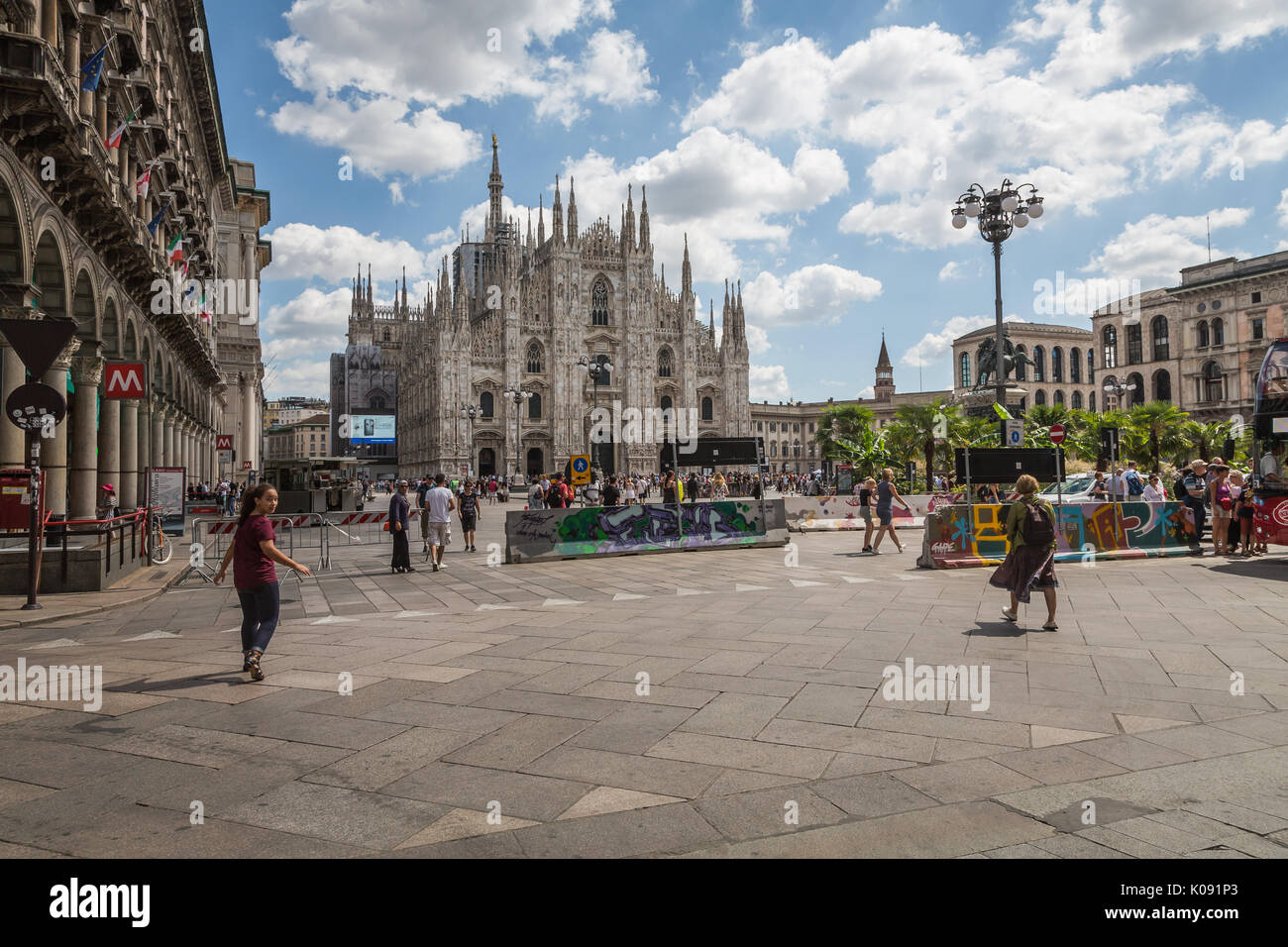 Jersey barriers in Piazza Duomo, Milan, Italy - Stock Image