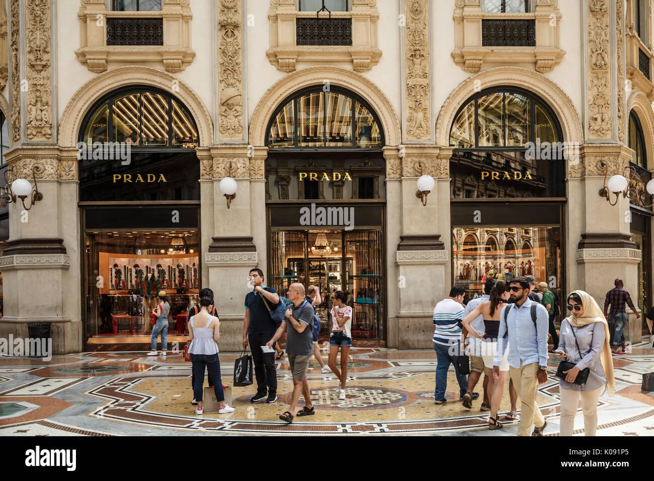 Prada boutique. Galleria Vittorio Emanuele II. Milan, Italy - Stock Image