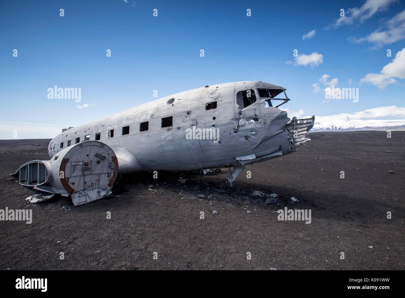 DC 3 Airplane wreck on Solheimasandur floodplane in south Iceland - Stock Image